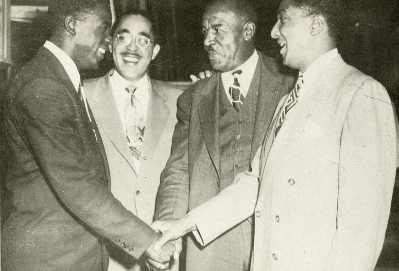 (L to R) Jackie Robinson, Wendell Smith, Duke Slater, Ralph Metcalfe