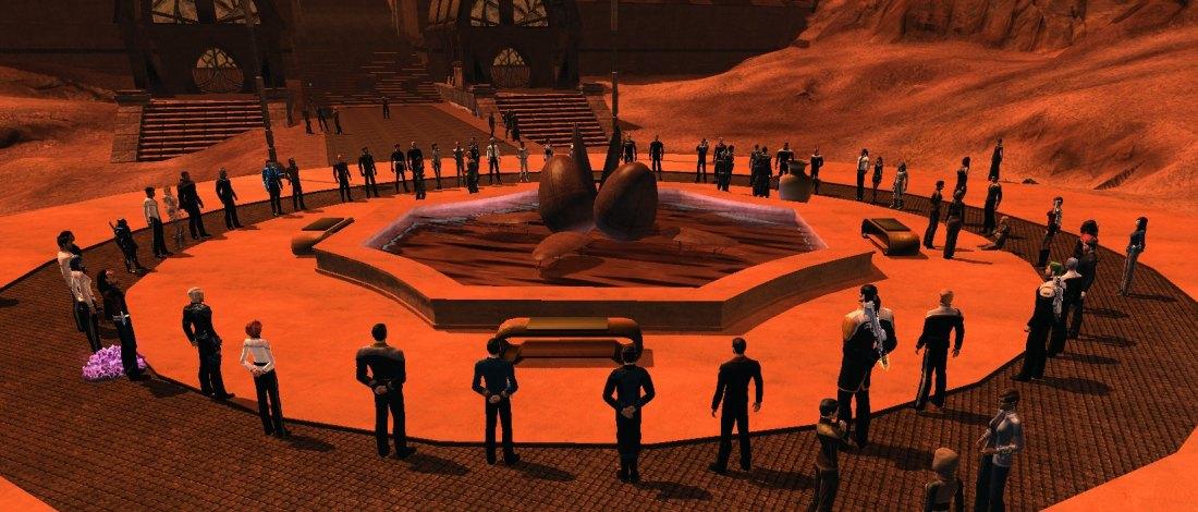 A vigil for Leonard Nimoy held in the game Star Trek Online